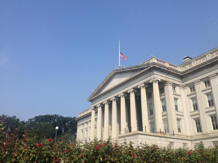 Flag at the U.S. Dept of Treasury flying at half-mast today
