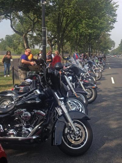 Bikers parked on Constitution Avenue