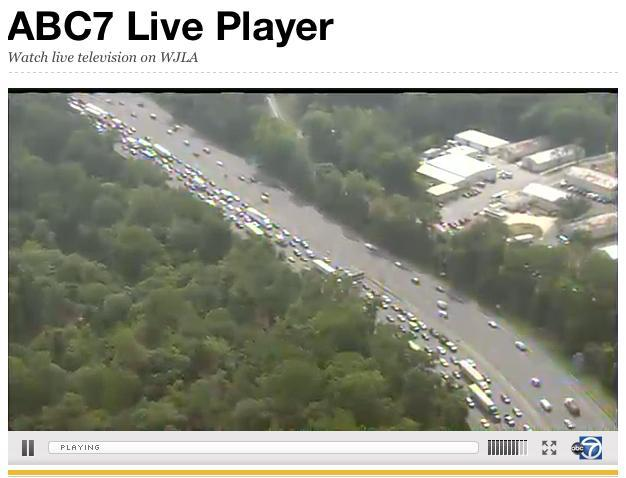 Traffic back-up on I-495 / Capital Beltway after motorcycle accident