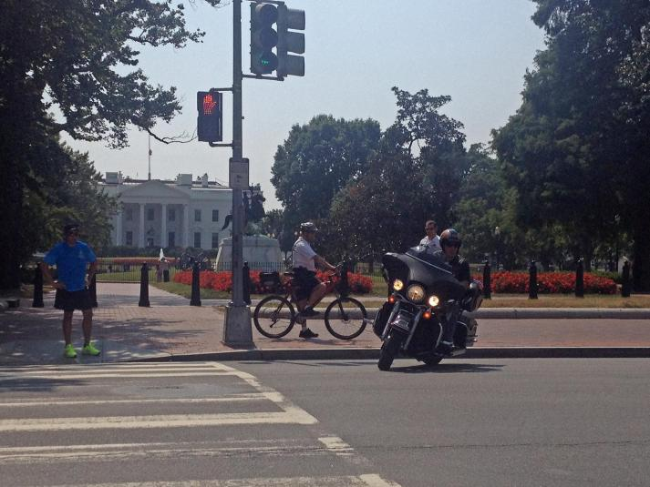 Biker turning in front of the White House