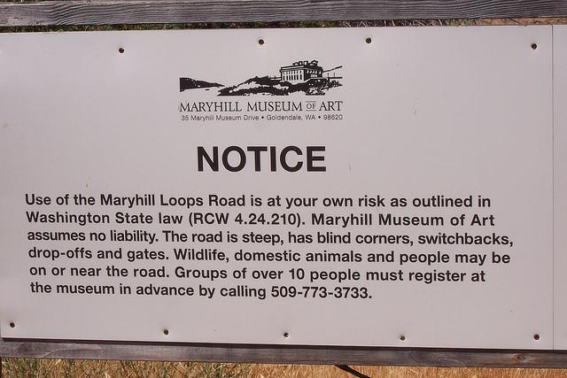 Maryhill Loops Road - Notice Sign