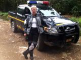 Sandra with our new escort vehicle