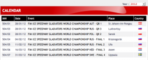 European 2012 motorcycle ice racing schedule