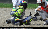 Valentino Rossi takes a bad break