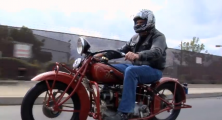 Jay Leno riding the 1933 Indian Four