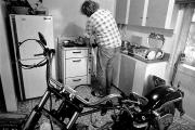 Bike shop in the kitchen