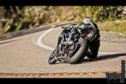 Biker leaning into a turn on Palomar Mountain Road